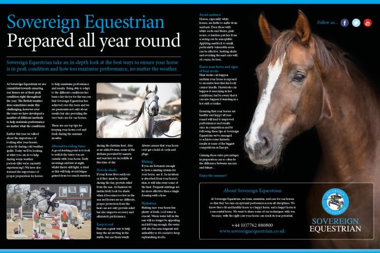 Sovereign Equestrian prepared all year round  - Equestrian Life July 2018